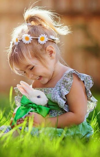 Kids and bunnies