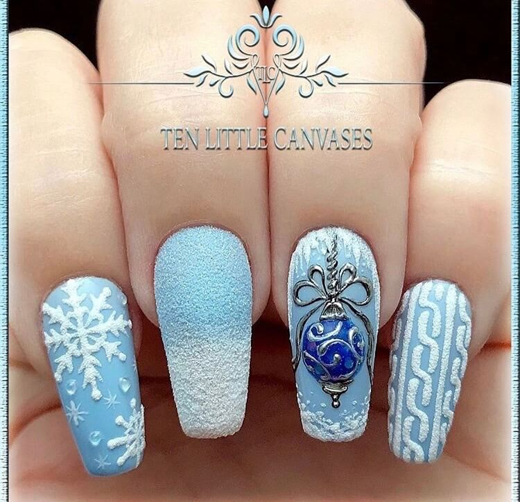 snow nails christmas winter manicure blue
