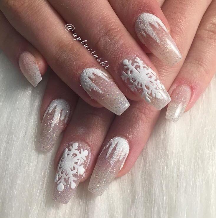 snow nails christmas winter manicure white design
