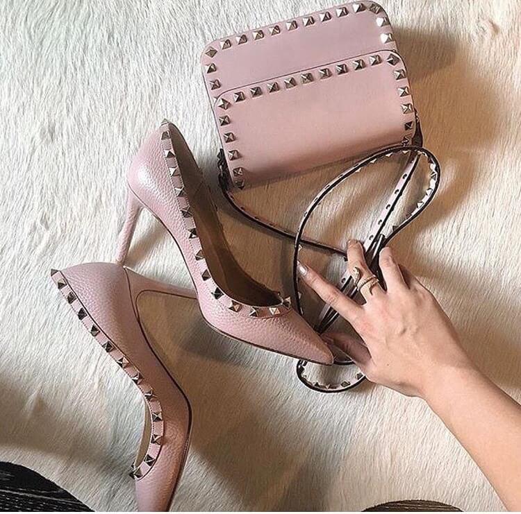 valentino garavani rockstud heels luxury pink