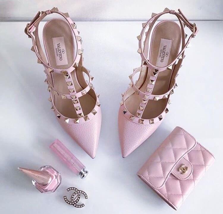 valentino garavani rockstud heels pink luxury