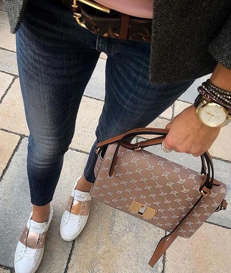 valentino garavani rockstud luxury brown sneakers