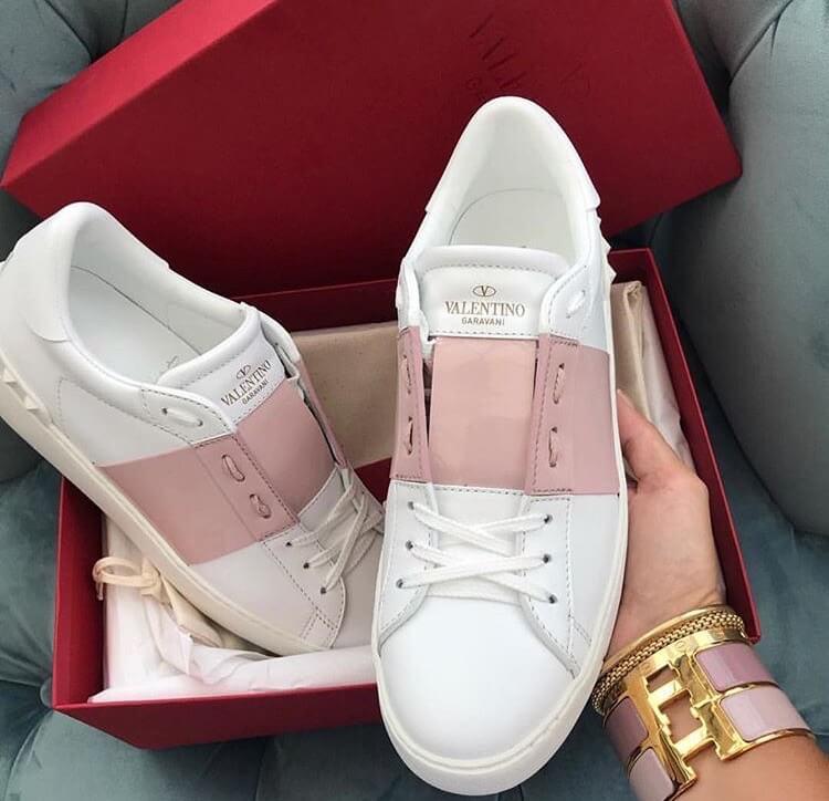 valentino garavani rockstud luxury pink sneakers