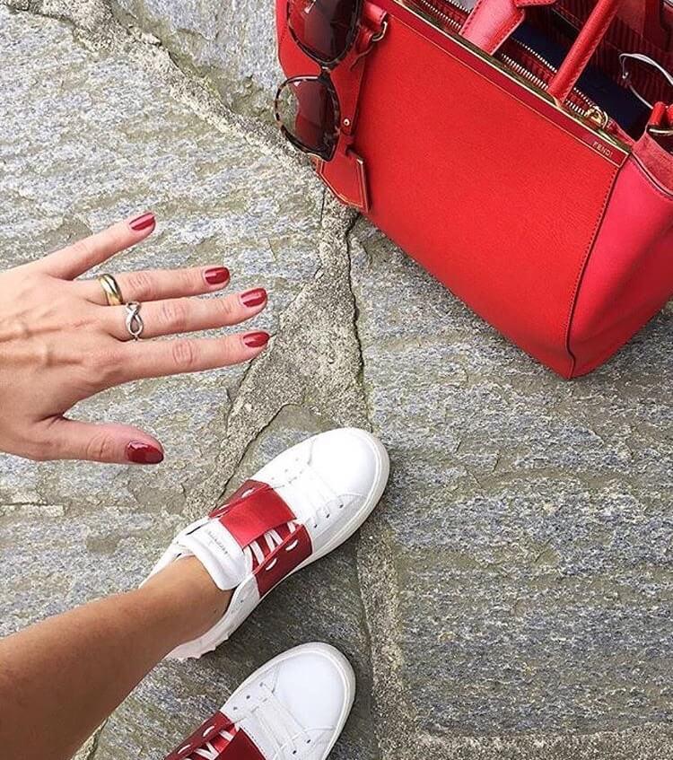 valentino garavani rockstud luxury white sneakers red