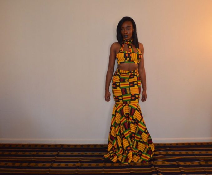 Jessica Chibueze's Ohemaa Closet Kente Print Two Piece Gown for The Ghana Independence Ball 2015 1