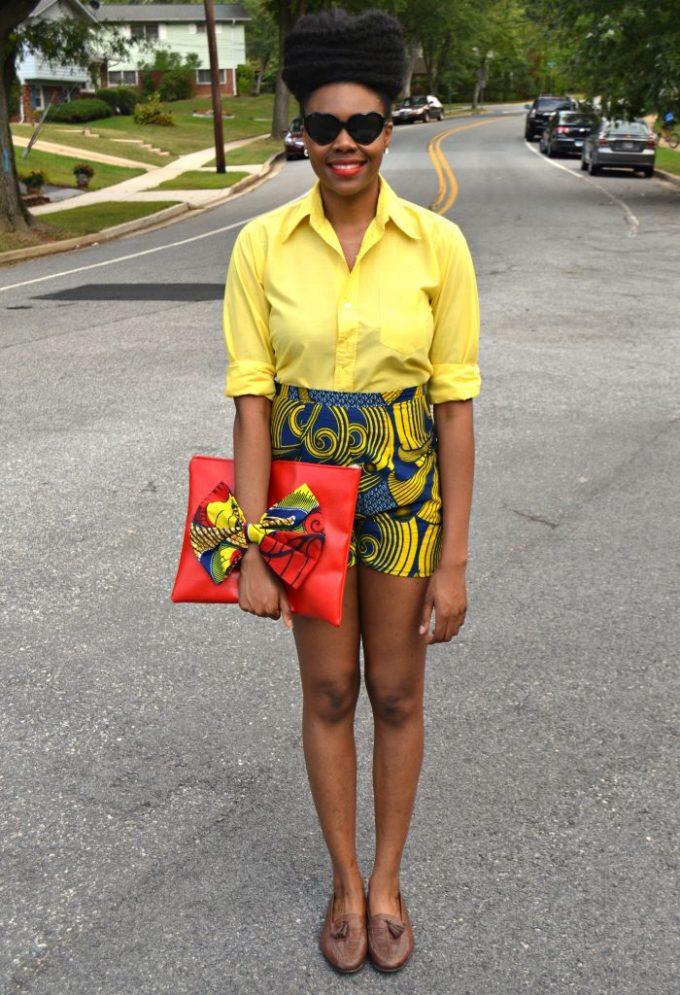 Nikki Billie Jean's Blue Ankara Print Shorts and Red Bowtie Bag for The Naturalista Hair Show 2014 3