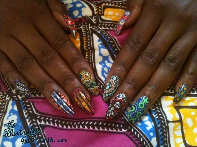Ankara Print Nails by The Illustrated Nail 2