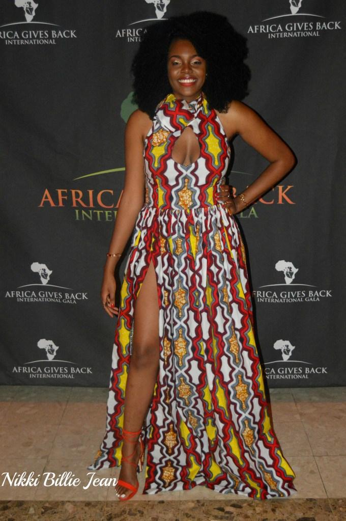 Africa Gives Back Int'l Gala 2016- Nikki Billie Jean Sleeveless Keyhole Scarf Neckline Side Slit Gown 1