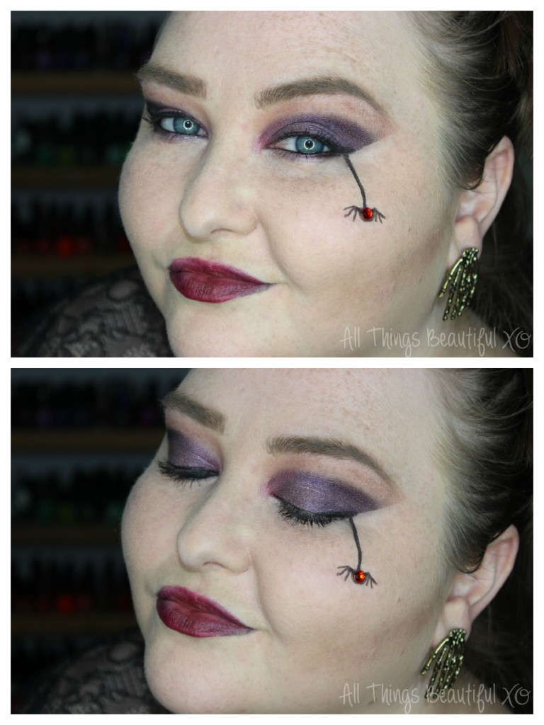 Vampy Halloween Makeup with a Touch of Spider featuring the Urban Decay Vice 3 Palette, NYX Lip Products, & More!