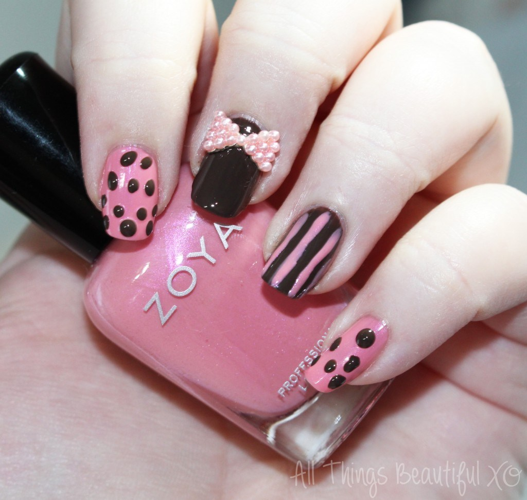 Zoya Pink & Brown Girly Design using My Stunning Nails from All Things Beautiful XO