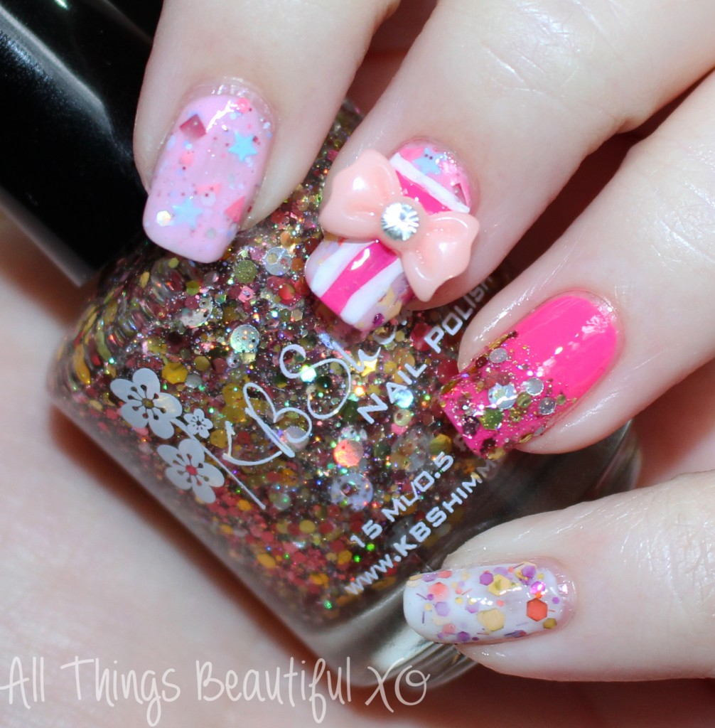 Easy Valentine's Day Nail Art Wrapped with a Bow featuring KBShimmer & Glitter! featuring KBShimmer shades in Toast-ess With the Mostest, Beach Please, You Autumn Know, & Sweet Egg-scape in this manicure from All Things Beautiful XO