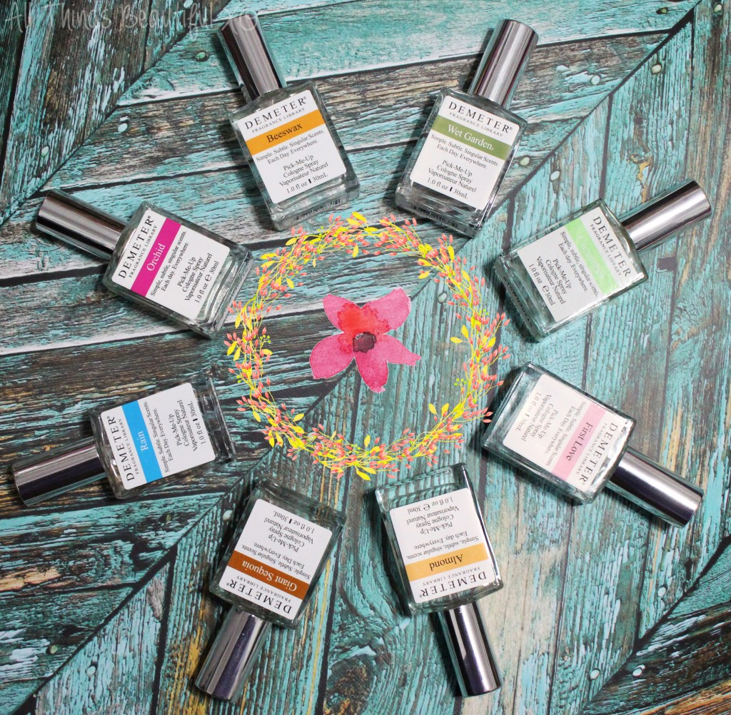Gorgeous unique spring-inspired perfumes from Demeter Fragrance Library including Orchid, Beeswax, Almond, Rain, Wet Garden, Giant Sequoia, Cucumber & More! from All Things Beautiful XO