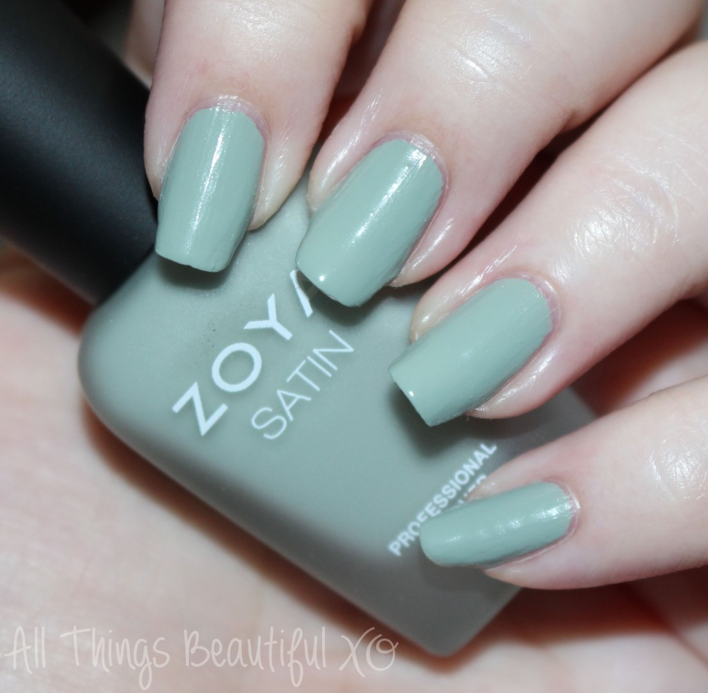 This is Zoya Sage from the Zoya Naturel Satin Nail Polish Collection for 2015 Swatches & Review on All Things Beautiful XO