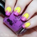 Neon sponged nail art with purple & yellow! KBShimmer Rum Me the Right Way & Sarong Place, Sarong Time on All Things Beautiful XO | www.allthingsbeautifulxo.com