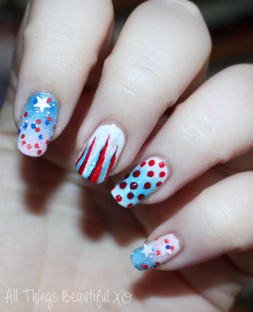 4th of July USA Nail Art with Stars, Glitter, & Ombre with Sinful Colors