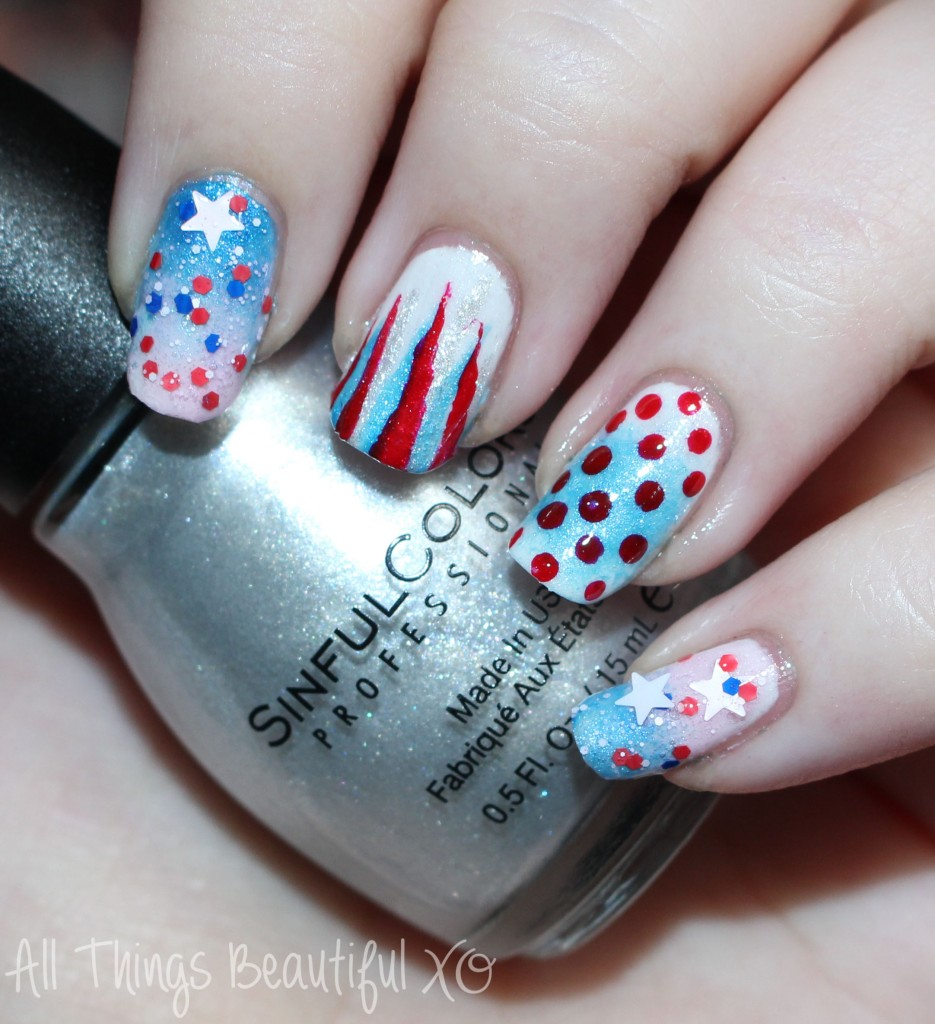 Sinful Colors Out of This World Silver Swatch on my 4th of July USA Nail Art with Stars, Glitter, & Ombre with Sinful Colors on All Things Beautiful XO | www.allthingsbeautifulxo.com