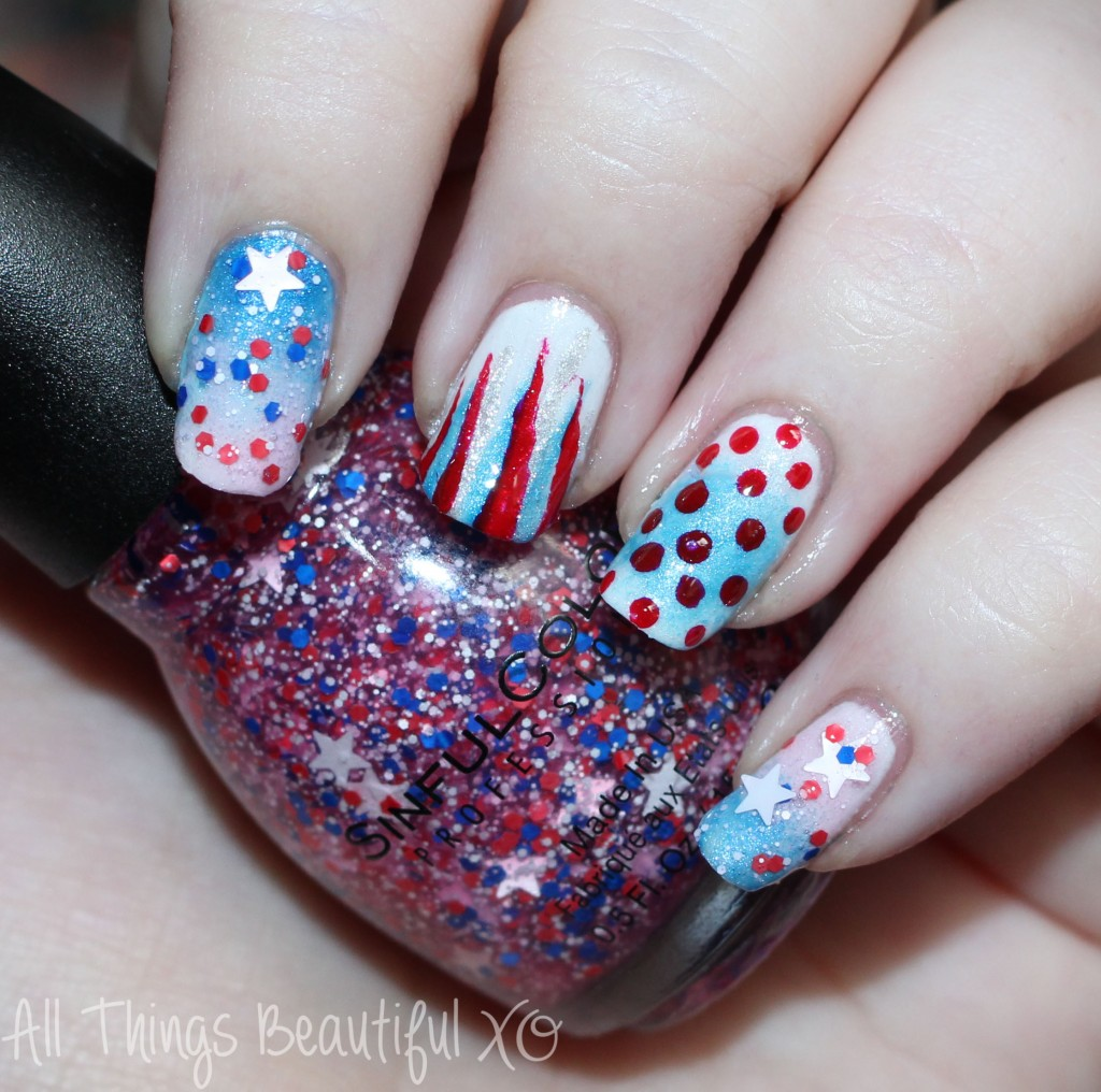 Sinful Colors Star Blast Off Swatch  on my 4th of July USA Nail Art with Stars, Glitter, & Ombre with Sinful Colors on All Things Beautiful XO | www.allthingsbeautifulxo.com