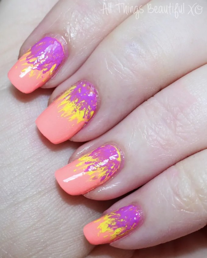Some stunning Neon Tropical Summer Dry Brush Nail Art with KBShimmer Rum Me the Right Way, Sarong Place Sarong Time, & Bahama Drama! Easy & perfect for the hot weather- almost a bit like summer palm trees or exotic parrot feathers? Check them out on All Things Beautiful XO | www.allthingsbeautifulxo.com