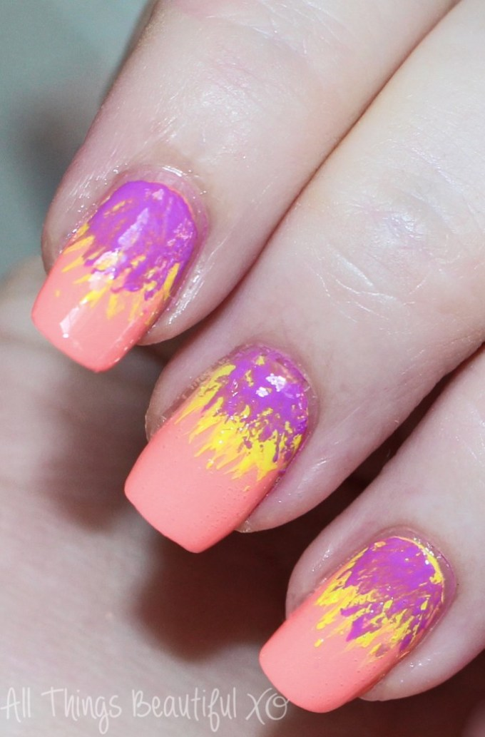 Neon Tropical Summer Dry Brush Nail Art - All Things ...