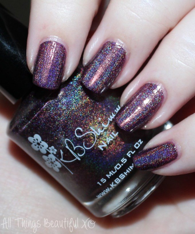 KBShimmer Fall 2015 Swatch Fig-Get About It  Swatches & review of the KBShimmer Fall 2015 nail polish shades in Teal it to My Heart, Be Scareful, Fig-Get About It, Open Toad Shoes, Carpe Denim, & Breaking Blues. This is part #1 of 2 on All Things Beautiful XO | www.allthingsbeautifulxo.com