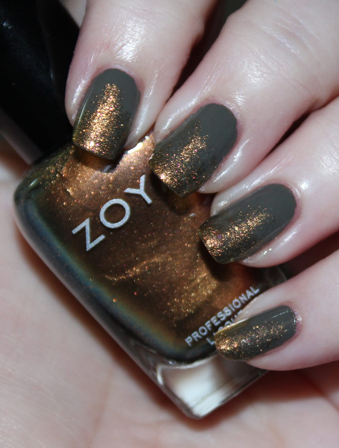 Using the shades Zoya Aggie & Charli I created this simple Green & Bronze Duochrome Sponged Tips Fall Nail Art- perfect for the crisp autumn season without taking too much time to recreate yourself! Easy nail art is the best! View more on All Things Beautiful XO