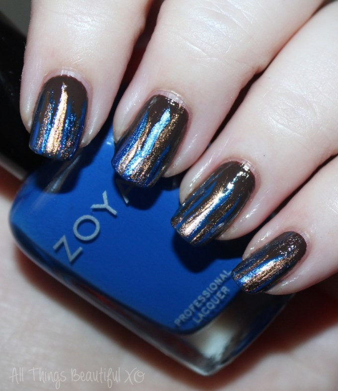 Nail art using Zoya Sia, Desiree, Cinnamon, & Estelle to create Autumn Feathered Stripes Manicure in Blue & Brown on All Things Beautiful XO | www.allthingsbeautifulxo.com