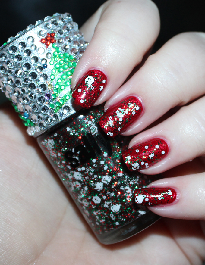 Swatches of Sally Girl Bling Tree Glitter Manicure for Christmas! Red, green, & white glitter with a sparkling diamond cap- tis the season!