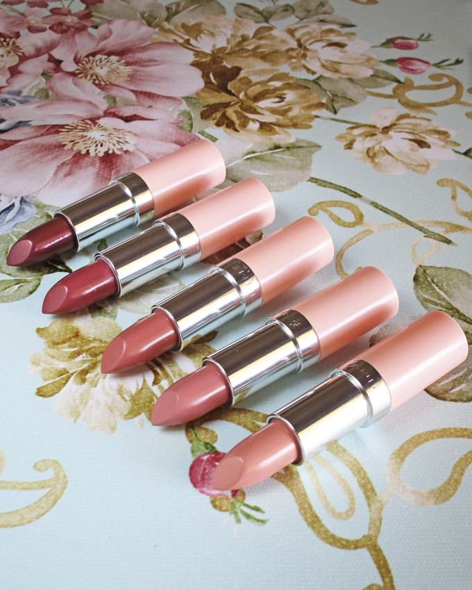 Rimmel Lasting Finish Nude Lipsticks by Kate Moss Collection Swatches & Review including the shades 40, 42, 46, 47, & 49. See more reviews, makeup tutorials, & nail art on All Things Beautiful XO