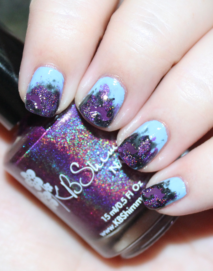 Some Fun Halloween Nail Art with KBShimmer EEEEEK Bats! A blue sky gone spooky! Check out more nail art, makeup tutorials, & beauty reviews on All Things Beautiful XO