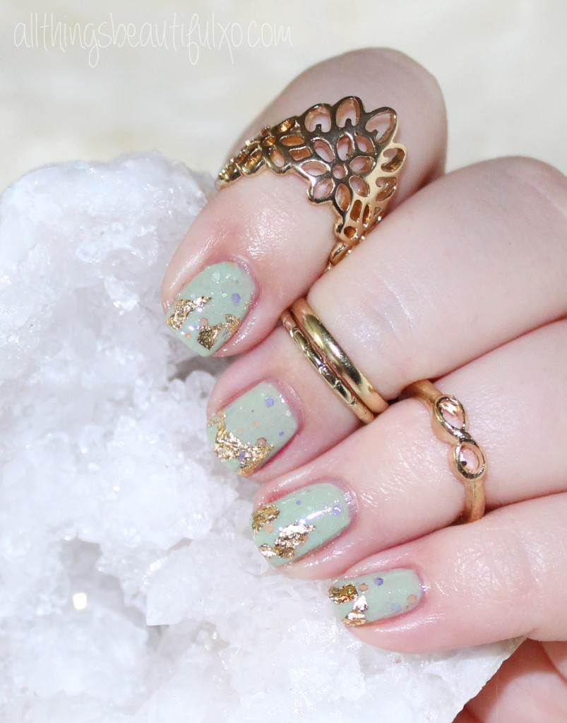 Gold Flake Foil Nail Art With Kbshimmer Sage It Aint So