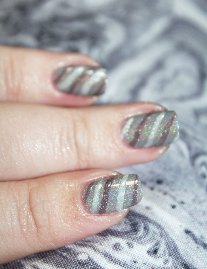 Demure Holo Neutral Stripe Nail Art using KBShimmer Office Space shades in Makin' Copies, Fax of Life, & Cubicle Pusher on All Things Beautiful XO