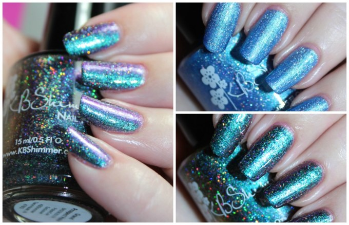 Swatches & review of the KBShimmer Polish Con NYC Exclusives in the shades We Make Your Dreams Come Blue & Grand Prospect Holo on All Things Beautiful XO