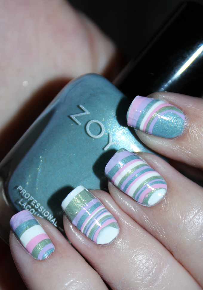Easy Diy Water Marble Decal Pastel Stripes Nail Art All