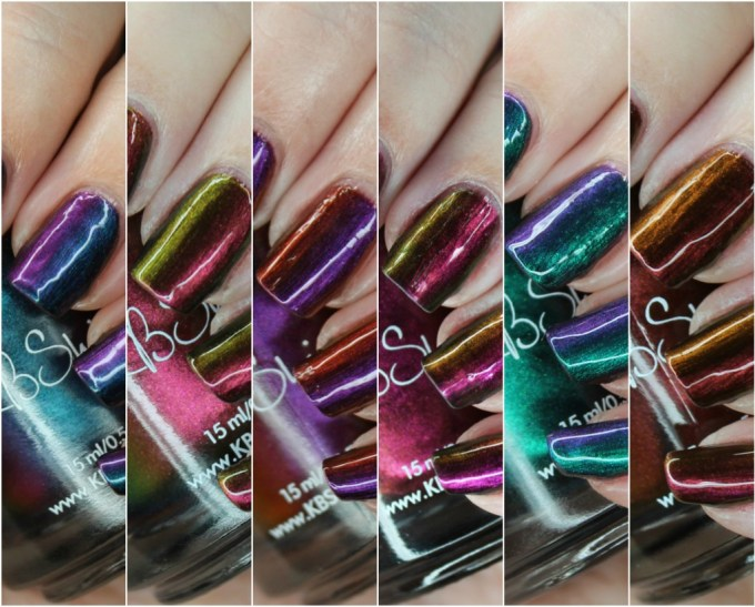 Swatches & review of all 6 KBShimmer Multichromes including the shades Chroma Chameleon, Puns and Roses, It's A Blazing, Flip Flop Hooray, Iridescent Exposure, & Wine Not? See more nail art, makeup, & beauty on All Things Beautiful XO