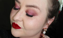 A long-wearing red lipstick paired with a burgundy eyeshadow look & highlighted skin Oh La La Makeup Look with Makeup Geek & Urban Decay on All Things Beautiful XO