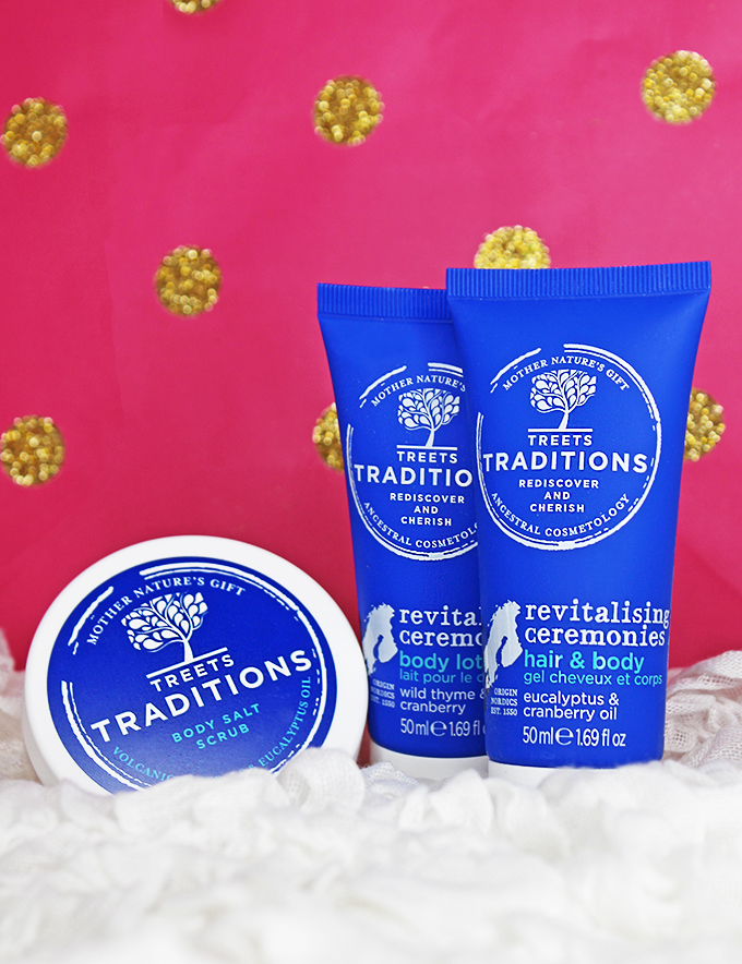 Treets Traditions Revitalising Ceremonies Eucalyptus & Cranberry Oil 5 different gift sets perfect for her- Under $30 that aren't makeup! Hand, body & unique gift guide ideas to choose from on All Things Beautiful XO