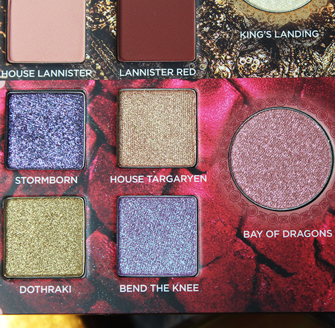 Urban Decay Game of Thrones Eyeshadow Palette Swatches & Review on All Things Beautiful XO House of Targaryensection in the urban Decay x Game of Thrones Eyeshadow Palette includes the shades: Stormborn, House of Targaryen, Dothraki, Bend the Knee, & transformer shade in Bay of Dragons.