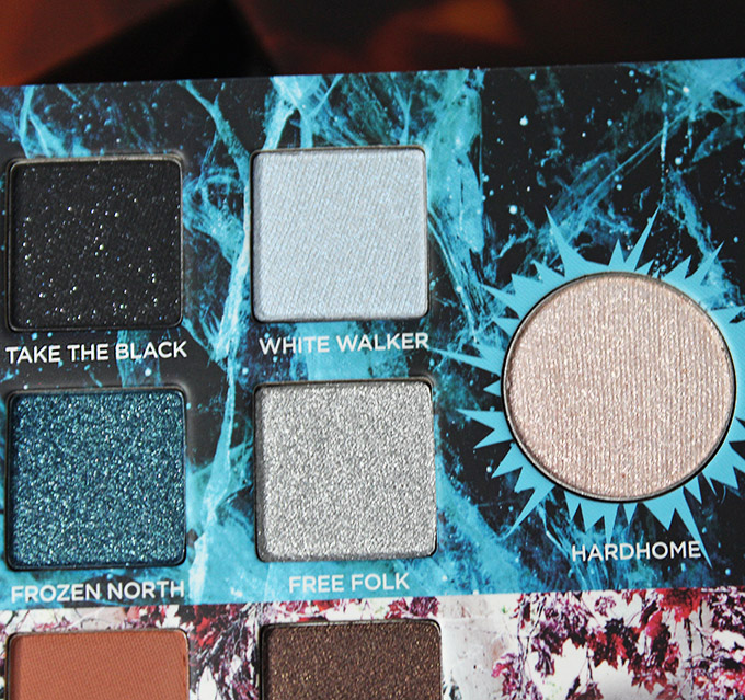 Urban Decay Game of Thrones Eyeshadow Palette Swatches & Review on All Things Beautiful XO White Walkers section in the urban Decay x Game of Thrones Eyeshadow Palette includes the shades: Take the Black, White Walker, Frozen North, Free Folk, & transformer shade in Hardhome.