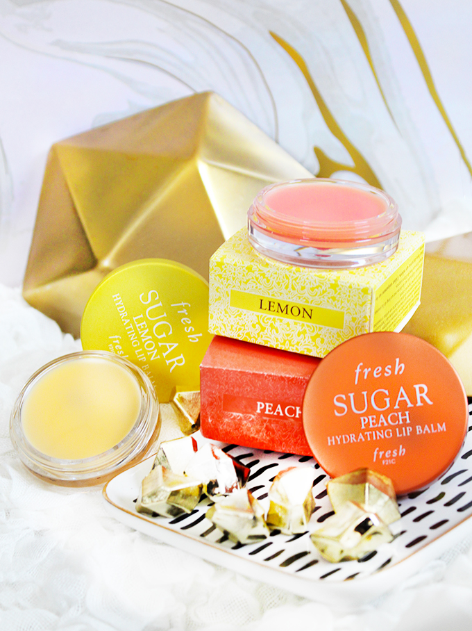 Fresh Sugar Lip Balms in Sugar Lemon & Peach Check out 7 Beauty Must-Haves You'll Actually Want to Travel With including skin, fragrance, & makeup on All Things Beautiful XO
