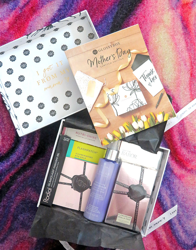 Unboxing the limited edition Glossybox for Mother's Day including Alterna, Flowerbomb, & more on All Things Beautiful XO