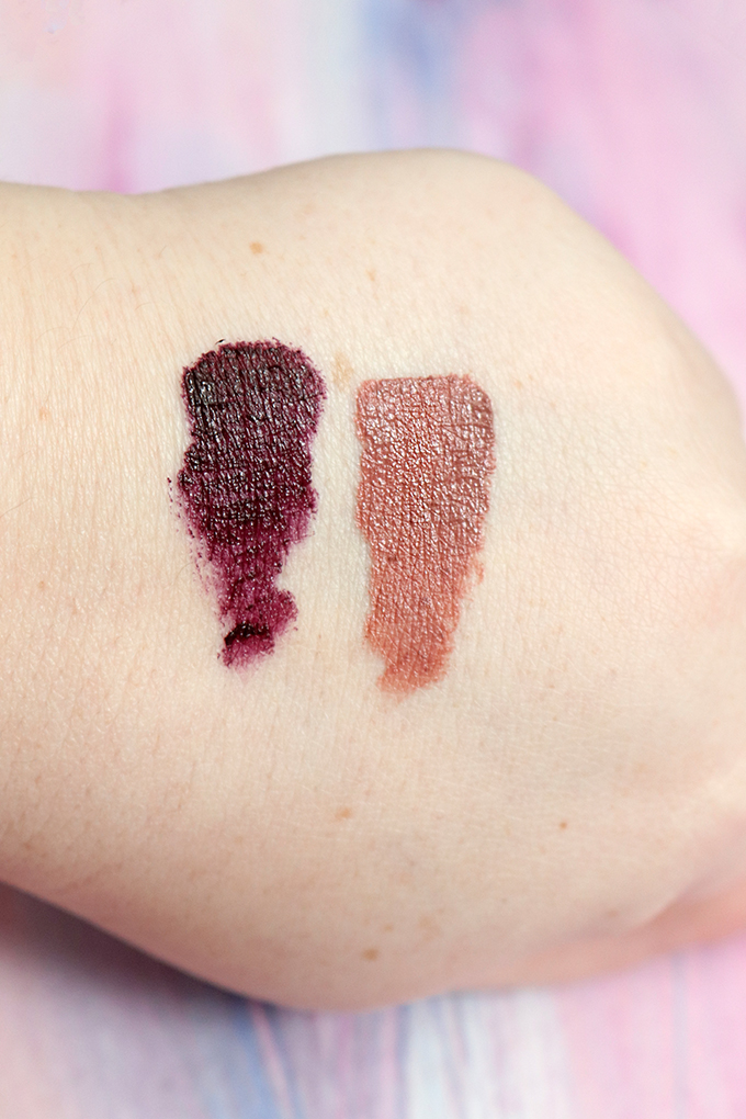 Swatches & review of the NYX Chilling Adventures of Sabrina Matte Lip Cream Duo in WEIRD SISTERS including Transylvania & Los Angeles on All Things Beautiful XO