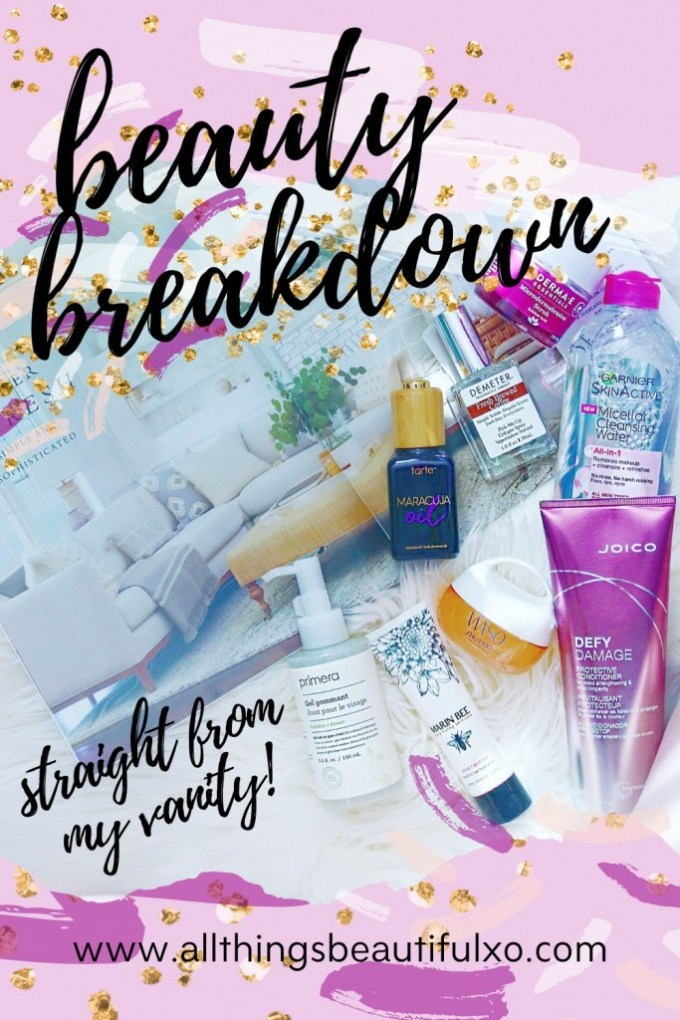 A look at what's on my vanity + mini reviews that I've been trying- from Primera, Tarte, Derma E, & more on All Things Beautiful XO