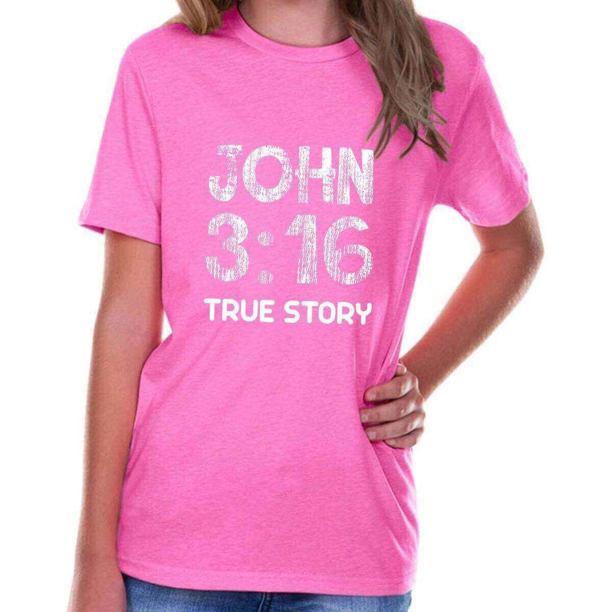 John 3 16 True Story Youth Jersey Short Sleeve Christian T