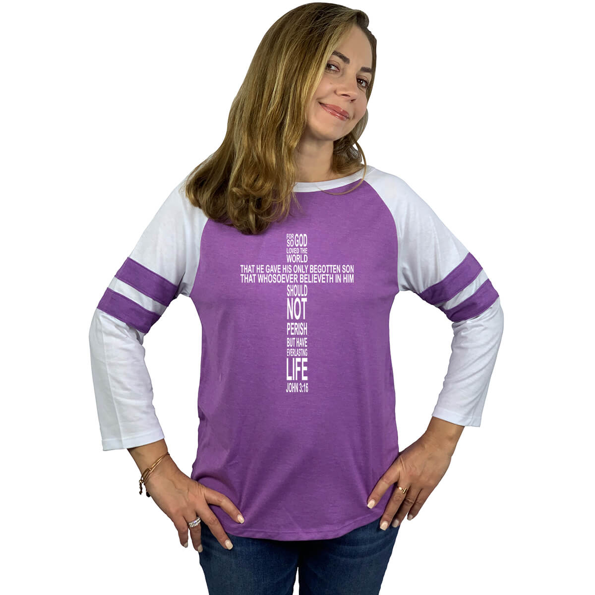 John 3 16 Christian Cross Women S Long Sleeve Baseball Jersey