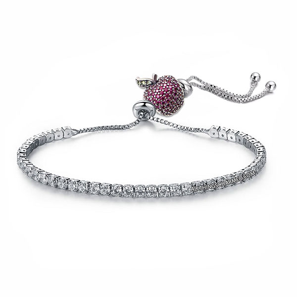 Lumini Pink Crystal Apple Charm Diamond Strand Bracelet