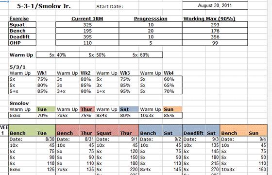 Smolov Jr 531 Excel Spreadsheet All Things Gym