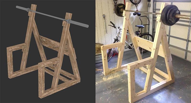 Diy wooden squat rack all things gym for Diy squat rack metal