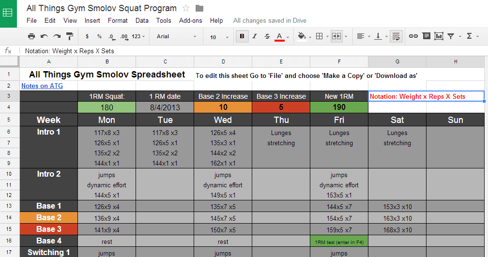 workout routine spreadsheet