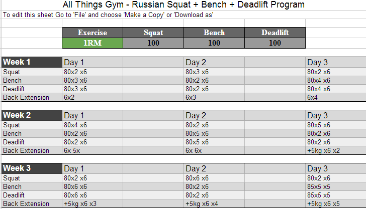 243bc2f764d2 Russian Squat Routine Spreadsheet Calculator  Update  Masters Routine Added  - All Things Gym