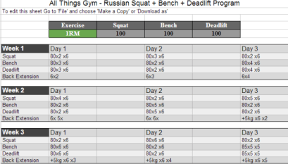 Smolov Jr  - 531 Excel Spreadsheet - All Things Gym